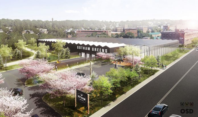 WORK HAS BEGUN on the Gotham Greens greenhouse facility in Providence. Above is a rendering of the project. / COURTESY GOTHAM GREENS