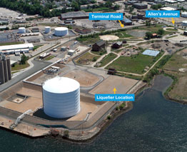 NATIONAL GRID plans to start construction this month on a natural gas liquefaction facility at Fields Point that has been opposed by residents, environmentalists, and some local officials. / COURTESY/NATIONAL GRID PLC