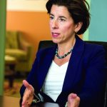 GOV. GINA RAIMONDO, shown in her office, testified before the Senate Education and Finance committees on Wednesday in support of her proposal to expand the Rhode Island Promise program PBN FILE PHOTO/MICHAEL SALERNO