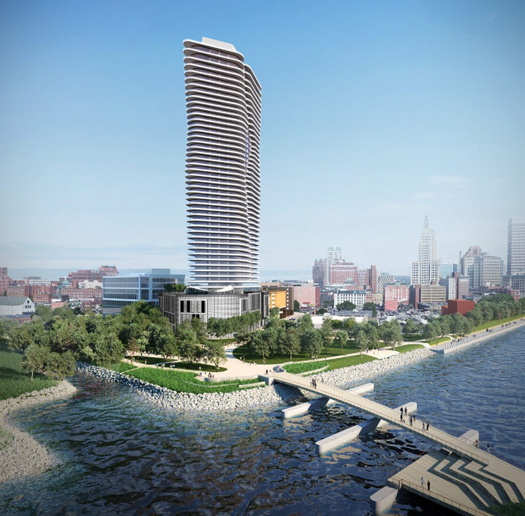 HOPE POINT: The Hope Point tower, shown in a current rendering, would be located on Parcel 42 of the Interstate 195 Redevelopment District, over the public park and near the Providence Pedestrian Bridge, shown here in foreground. / COURTESY THE FANE ORGANIZATON