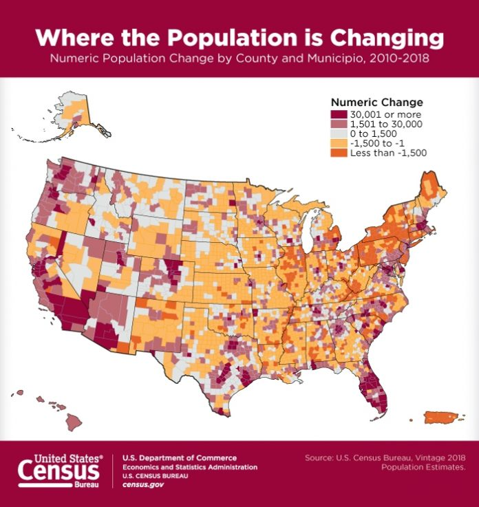 THE POPULATION of Rhode Island increased 4,358 people from 2010 to 2018 to a total of 1.06 million. / COURTESY U.S. CENSUS BUREAU