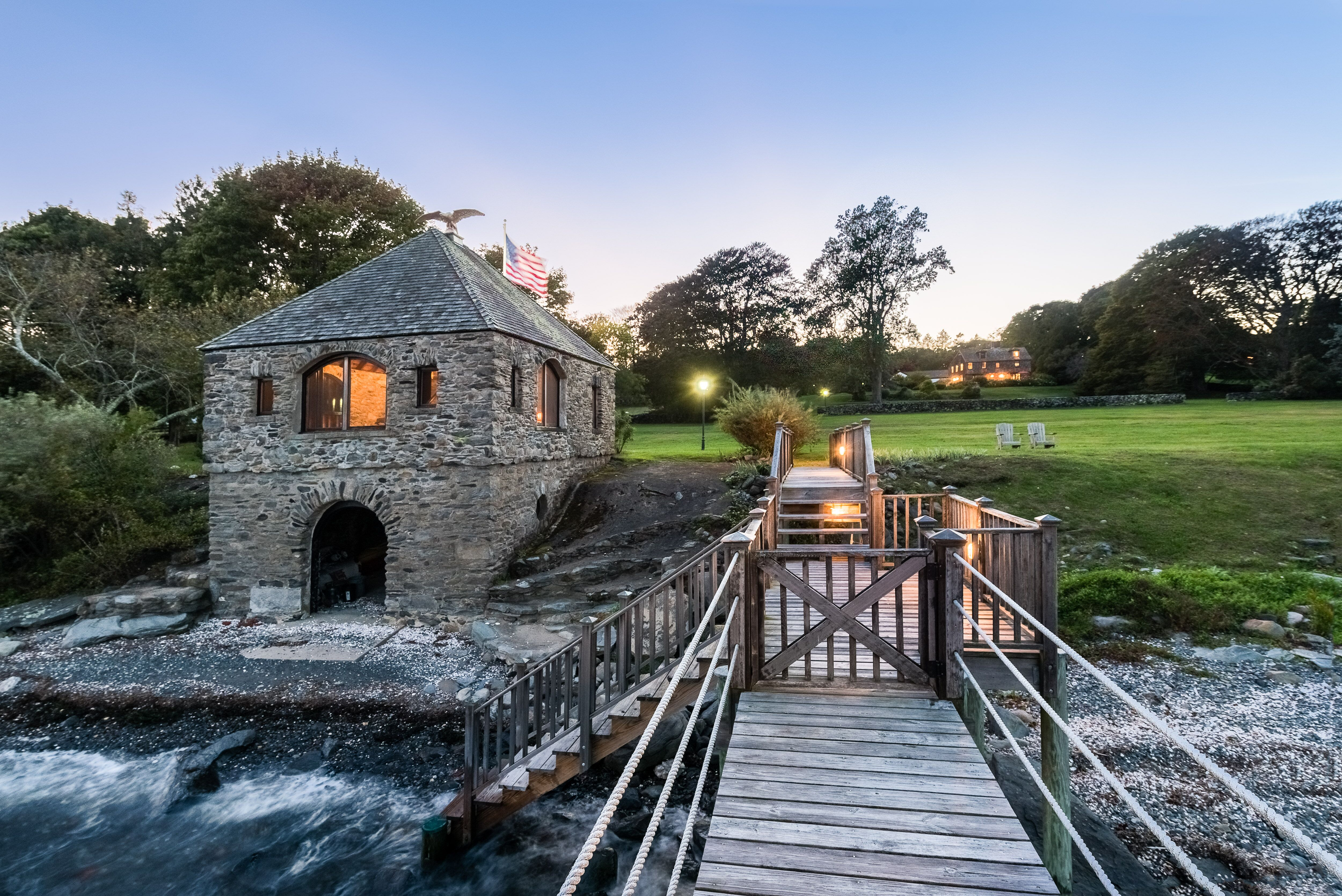 THE CAJACET FARM waterfront features a one-room stone boathouse and a dock. / COURTESY MOTT & CHACE SOTHEBY'S INTERNATIONAL REALTY