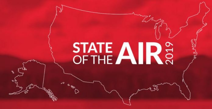 THREE RHODE ISLAND counties earned failing grades for ozone pollution in the years 2015, 2016 and 2017 in the American Lung Association's 2019 State of the Air report. / COURTESY AMERICAN LUNG ASSOCIATION