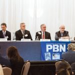 LISTEN AND LEARN: Participants during the first of two discussion panels at the 2019 PBN Spring Health Care Summit at the Providence Marriott talk about how the state's health care and insurance systems must listen to and understand the whole person they purport to serve. From left: Marc Backon, president of Tufts Health Plan's commercial division; Stephen Farrell, UnitedHealthcare of New England CEO; Dr. John Murphy, executive vice president of physician affairs at Lifespan; James E. Purcell, former CEO of Blue Cross & Blue Shield of Rhode Island and founder of the Returns on Wellbeing Institute; Shannon Shallcross, co-founder and CEO of BetaXAnalytics; and Neil D. Steinberg, president and CEO of the Rhode Island Foundation.