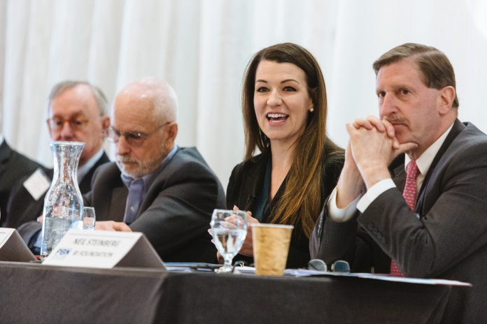 PANELISTS SPEAK at the 2019 PBN Spring Health Care Summit. Above, from left to right, Dr. John Murphy, Jim Purcell, Shannon Shallcross and Neil D. Steinberg. / PBN PHOTO/RUPERT WHITELEY