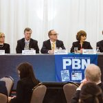 PROPOSED CHANGES: Panelists at the 2019 PBN Spring Health Care Summit discuss efforts of President Donald Trump's administration to undermine or replace the Affordable Care Act, as well as Trump's proposed changes in regulations for accountable care organizations and the cost of prescription drugs. From left: Dr. Marylou Buyse, chief medical officer of Neighborhood Health Plan of R.I.; Dr. James E. Fanale, CEO of Care New England; Chris Ferraro, chief financial officer at Coastal Medical; Marie L. Ganim, R.I. health insurance commissioner; Stephen Kogut, professor of pharmacy practice at URI; and Zachary W. Sherman, director of HealthSource RI.