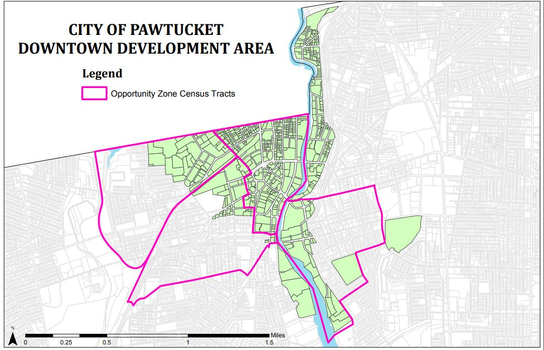 THE PAWTUCKET DOWNTOWN Redevelopment Area includes areas in the federal Opportunity Zones designation. / COURTESY R.I. COMMERCE CORP.