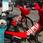 PROVIDENCE IS expanding its electric dockless electric bike program called JUMP to 1,100 vehicles and is expanding the service area to cover the entire city. / PBN PHOTO/CHRIS BERGENHEIM