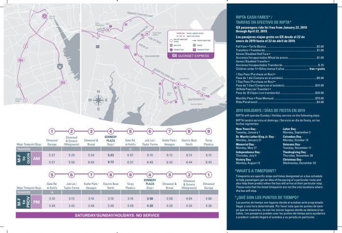 THE FREE TRIAL period for express bus service from Providence to Quonset Business Park will continue through the end of the calendar year. / COURTESY R.I. PUBLIC TRANSIT AUTHORITY