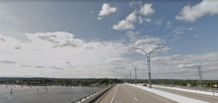 RIDOT HAS requested the rescission of an approval that allowed the department to impose tolls on the Sakonnet River Bridge. / COURTESY GOOGLE INC.