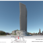 THE HOPE POINT tower would feature 40 floors of residential apartments and condos atop a 6-story parking base. / COURTESY THE FANE ORGANIZATION