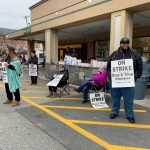 UNIONIZED WORKERS picket outside of East Side Market, a Stop & Shop-owned grocery store closed down due to the strike. More than 31,000 workers are striking in New England following an impasse in contract negotiations. / PBN FILE PHOTO/MARY MACDONALD