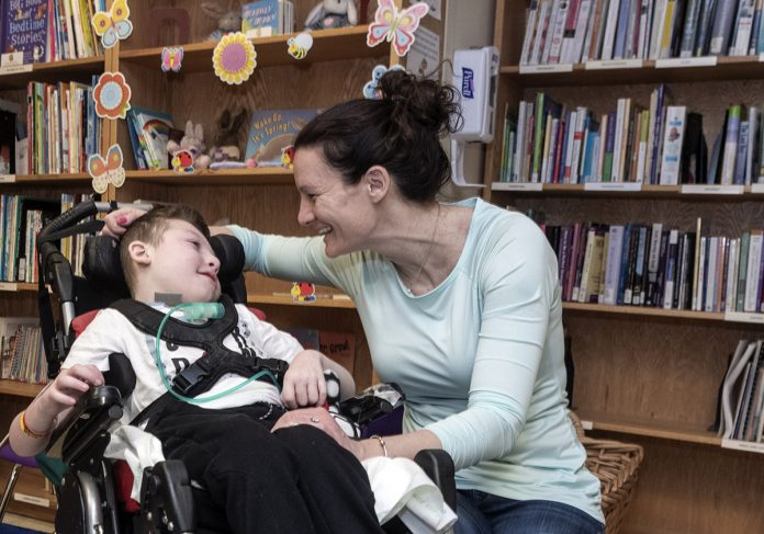NEW PROTOCOLS: Jenn Anderson with her son Brandon, 10. Brandon has had sepsis several times, but new protocols at Hasbro Children's Hospital help him get treatment more quickly.