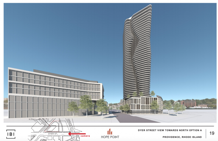 THE FANE ORGANIZATION'S Hope Point tower has been a controversial project ever since it was first proposed. Should its units be completely sold or leased before construction starts on it, assuming it is approved to be built? / COURTESY CITY OF PROVIDENCE