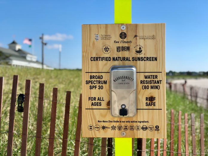 DISPENSERS WITH free sunscreen are to appear at all Rhode Island beaches this summer. /COURTESY R.I. DEPARTMENT OF ENVIRONMENTAL MANAGEMENT