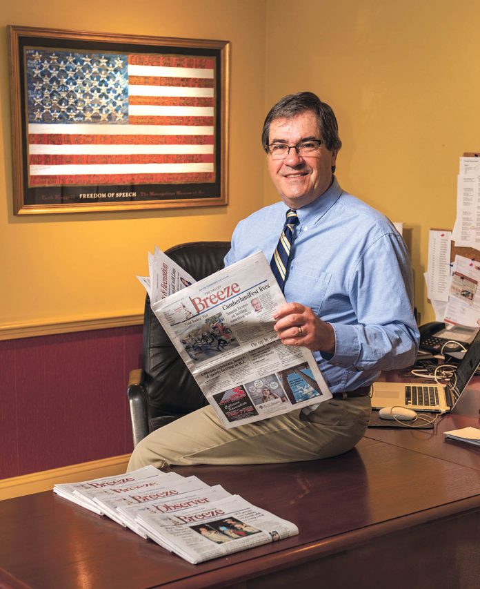 BREEZE PUBLICATIONS has been acquired by a Virginia-based multimedia company. Above, Valley Breeze Publisher Thomas V. Ward, who told PBN Wednesday that he is beginning the process of retirement. / PBN FILE PHOTO/DAVE HANSEN
