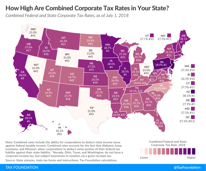 RHODE ISLAND had the lowest combined state and federal corporate income tax rate in New England as of July 1, 2018. / COURTESY TAX FOUNDATION