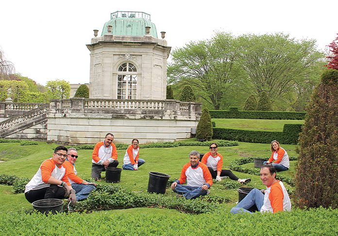 LOOKING SPIFFY: Embrace employees volunteer to beautify Newport Preservation Society properties ahead of the tourism season.