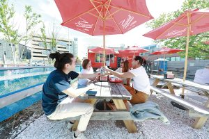 SEASONAL SEAFOOD: More than $300,000 in state funds were invested in site preparations to support the Dune Brothers seasonal seafood shack, intended to create a lively spot for people working in the district. The restaurant is located on Dyer Street. / PBN PHOTO/PAM BHATIA