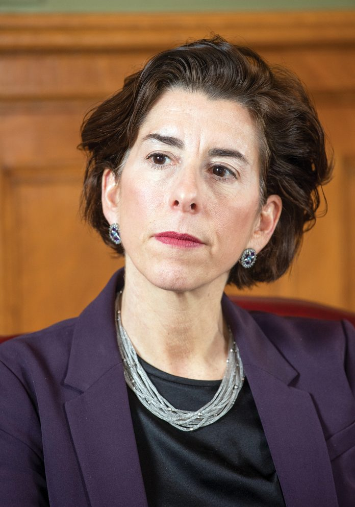 A BULLY PULPIT? Gov. Gina M. Raimondo has taken an active role in trying to get Lifespan and Care New England to complete a merger they have tried twice before, spending political capital that she has seemed reluctant to do in the past. / PBN FILE PHOTO/DAVE HANSEN
