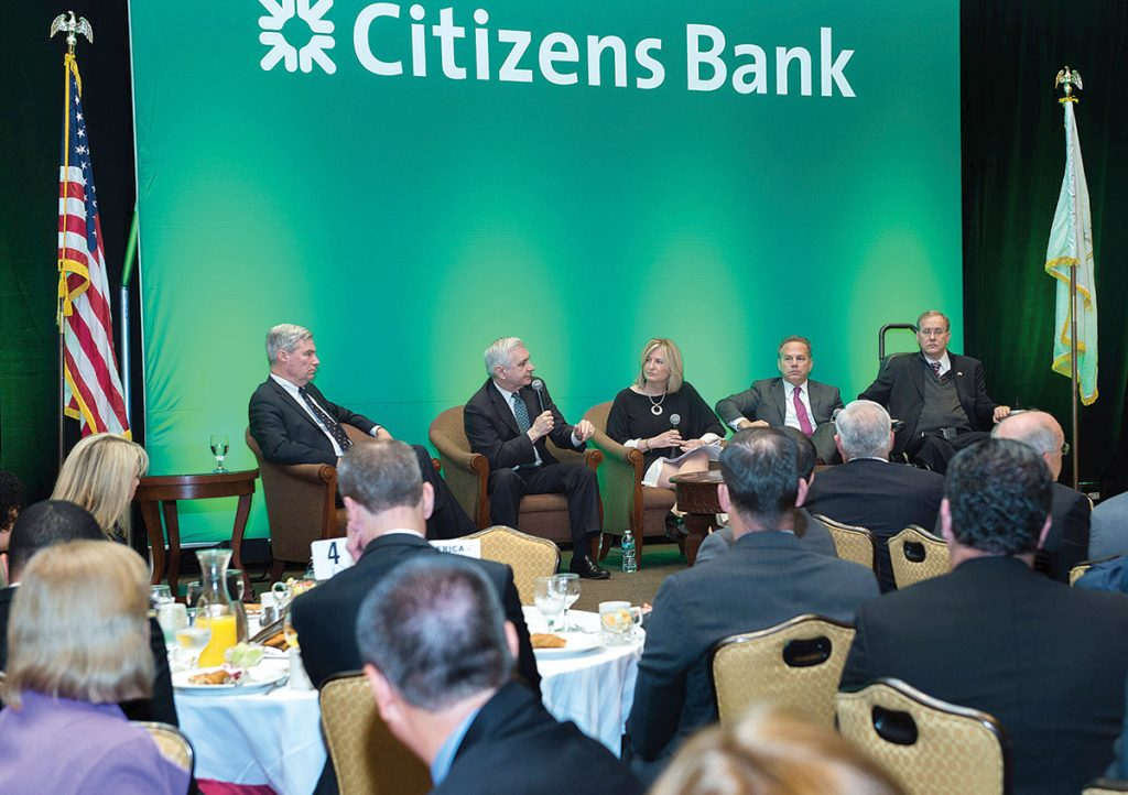 CONGRESSIONAL BREAKFAST: Members of Rhode Island's congressional delegation converse during last year's breakfast hosted by the Greater Providence Chamber of Commerce. This year's event will be held on June 17 at the Crowne Plaza Providence-Warwick in Warwick.