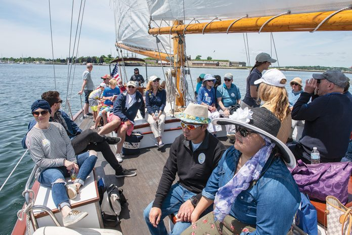 TAKING CONTROL: Sailing Heals takes cancer patients and their caregivers for a sail aboard the schooner Madeleine in Newport.