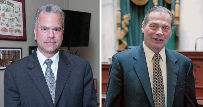 IN THE DARK: General Assembly leaders Nicholas A. Mattiello, left, the speaker of the House, and Dominick J. Ruggerio, Senate president, have left the budget for the next fiscal year until the last minute, a tradition that does not serve the state well.