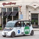 PILOT PROJECT: The R.I. Department of Transportation has partnered with May Mobility, a Michigan manufacturer of electrical, self-driving vehicles, to launch the Little Roady autonomous vehicle pilot project in Providence. The vehicle is pictured in front of The Cheesecake Factory at the Providence Place mall.