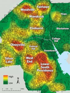 Concentrations of abandoned and blighted houses The map at right shows where abandoned and blighted houses targeted for renovation under the city's EveryHome program are clustered around Providence. The red areas are those with the highest concentrations of such properties. The yellow areas have lesser concentrations. And the green areas have virtually none of those properties. As the map shows, there are clusters of EveryHome properties in nearly every part of the city, except the East Side and Downtown. The largest clusters are in an area stretching from the West End to Lower South Providence. / Source: Providence Department of Planning and Development