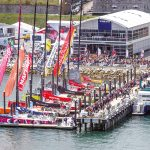 SPECTATORS LINE the pier during the 2015 Volvo Ocean Race North American stopover in Newport. Sail Newport is still deciding on whether to bid for the 2022 stopover point. /COURTESY VOLVO OCEAN RACE