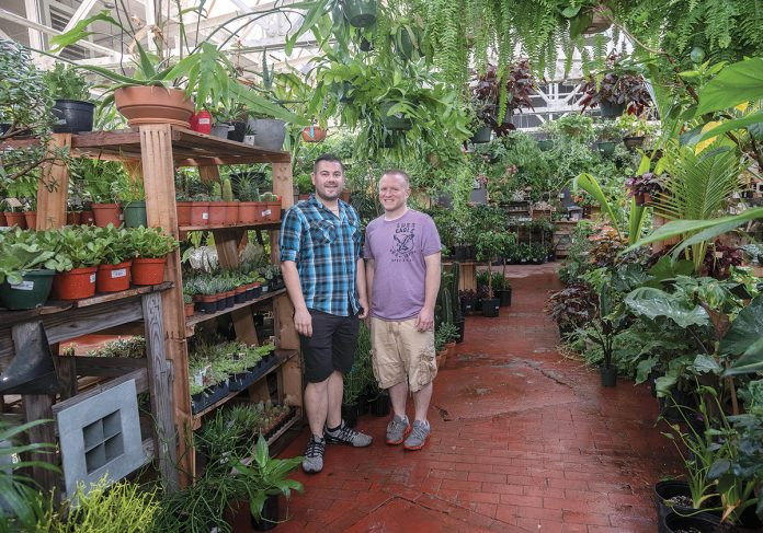 LABOR OF LOVE: Jordan Ford, left, and Darin Wildenstein are co-owners of Jordan's Jungle, a plant store and nursery occupying 4,000 square feet in a former jewelry plant in Pawtucket.  / PBN PHOTO/MICHAEL SALERNO