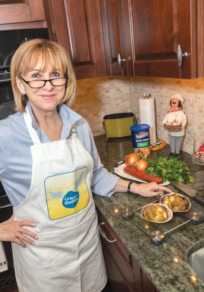 STUFFED QUAHOGS: Cheryl Ursillo, founder and CEO of Grace's Stuffies, makes gourmet stuffed quahogs using her mother's recipe.