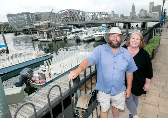 DRAMATIC CHANGE: Tom McGinn, captain and president, and Kristin Stone are co-owners of Providence Riverboat. After the company joined the Providence Warwick Convention & Visitors Bureau, it shifted its business model from cocktail cruises to catering to the tourism industry and nearly tripled its revenue in the first year, Stone said.