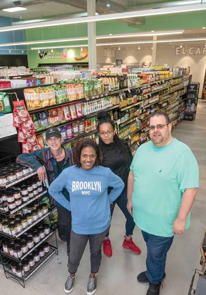 FOOD CO-OP: From left, Erb Reinert, bulk and wellness buyer; Jacqueline Sophia, finance manager; Leah Costa, customer service manager; and Jesse Cardarelli, produce manager, are pictured at the newly opened Urban Greens Co-op Market in Providence.