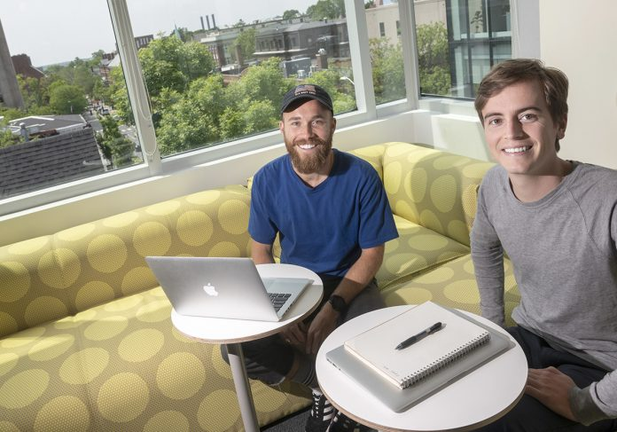 NONDAIRY: Jacob Conway, left, and Kevin Eve are co-founders and owners of Uproot, which provides dispensers for plant-based milks, now available at the Brown University cafeteria, Johnson & Wales University and other locations.