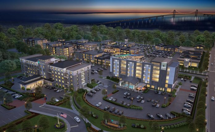 CARPIONATO GROUP has proposed a $100 million, mixed-use redevelopment of the Newport Grand site that would replace the former casino with hotels, apartments and retail space. / COURTESY CARPIONATO GROUP