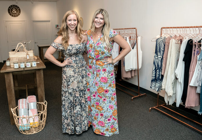 RETAIL BOUTIQUES: Natalie Swift, left, and Dakota Whitworth are the co-founders of Harper & Tucker, a business that operates retail boutiques: one on Bellevue Avenue in Newport and another in the Wayland Square neighborhood of Providence. / PBN PHOTO/MICHAEL SALERNO