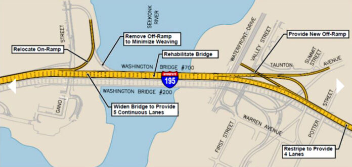 The Washington Bridge construction will involve adding an additional lane for through-traffic, removing the Gano Street exit from I-195 west and adding a new exit for East Providence, according the state Department of Transportation. / R.I. DOT