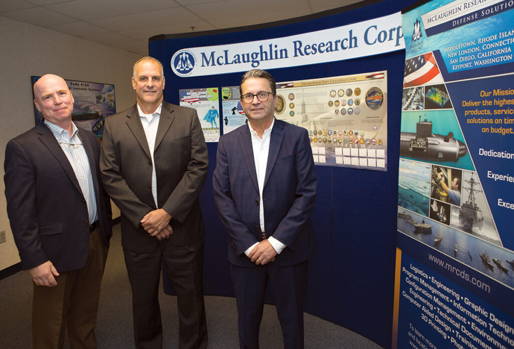 PRIME CONTRACTOR: McLaughlin Research Corp. is one of the prime contractors for the Naval Undersea Warfare Center Division Newport for a range of technical services. Pictured from left are Conn Kelly, part of the firm's ownership; Vincent Pinto, company president; and Domenic Gargano, chief operating officer.