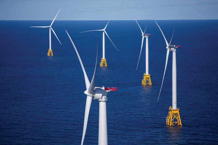 THE U.S. INTERIOR DEPARTMENT has extended the environmental review of the Vineyard Wind wind farm project, putting the project's future in jeopardy. Above, the Block Island Wind Farm. / BLOOMBERG NEWS FILE PHOTO/ERIC THAYER