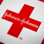 JOHNSON & JOHNSON shares rose as much as 5% after an Oklahoma judge ordered the company to pay $572 million to the state for the public-health crisis spawned by opioid painkillers. Oklahoma had sought as much as $17.5 billion. / BLOOMBERG NEWS FILE PHOTO