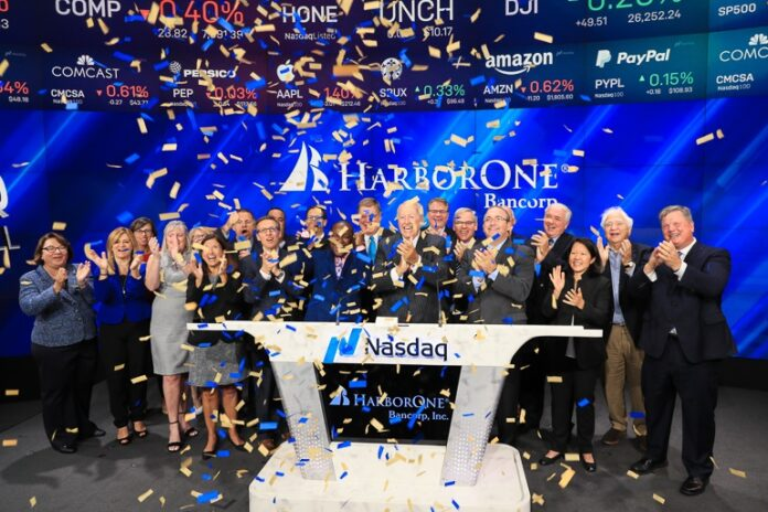 HARBORONE BANCORP rings the bell at the Nasdaq to start market trading Friday morning. / COURTESY NASDAQ