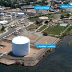 "FIELDS POINT on Providence's waterfront is where National Grid Rhode Island has started construction on a natural gas ""liquefaction"" facility to better meet the region's needs for electricity and heating, especially on the coldest days of the year, the company says./COURTESY/NATIONAL GRID PLC"