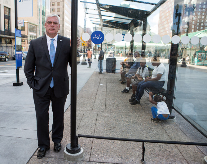 RIPTA CEO Scott Avedisian, shown at a stop at Kennedy Plaza in downtown Providence. / PBN FILE PHOTO/ RUPERT  WHITELEY