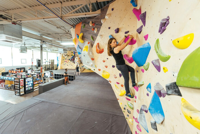 HITS THE SPOT: Rock Spot Climbing recently converted 5,000 vacant square feet of industrial space in Providence into a climbing facility, featuring 30-foot-high walls and about 10,000 square feet of climbing space.