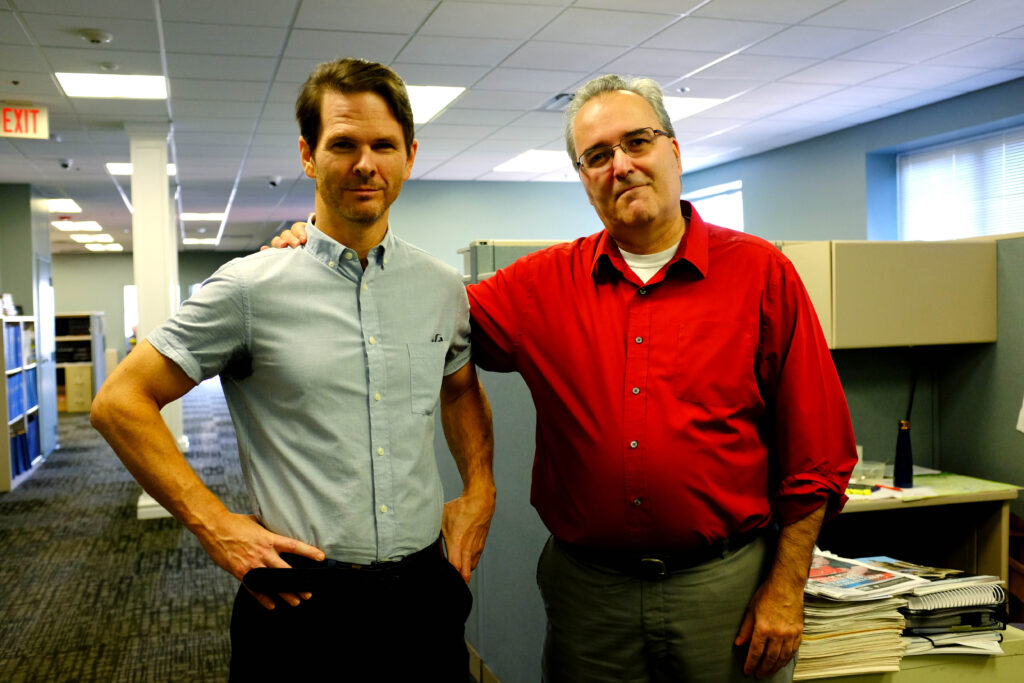 MIKE MELLO, right, has been named editor of the PBN, succeeding Mark S. Murphy. William Hamilton, left, has been named managing editor. / PBN PHOTO/ELIZABETH GRAHAM