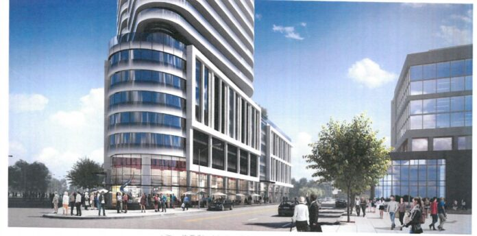 THE BASE of the Hope Point tower, as shown in a rendering that faces Dyer Street from the new city park./COURTESY I-195 REDEVELOPMENT DISTRICT COMMISSION.