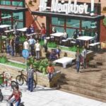 A RENDERING of the planned brewery and beer garden for Narragansett Beer in Providence adjacent to India Point Park. / COURTESY NARRAGANSETT BEER