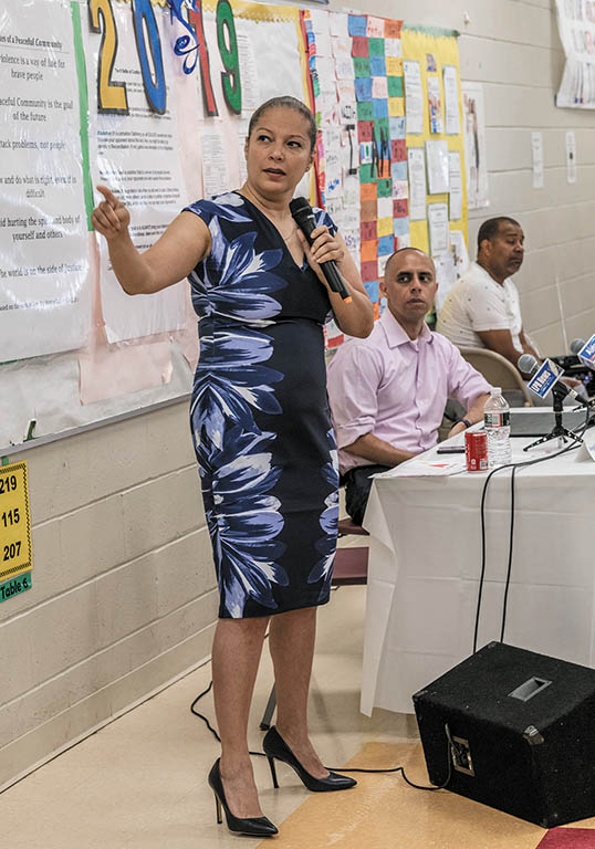 TAKING OVER: R.I. Education Commissioner Angélica Infante-Green wants to boost partnerships with local businesses to help improve Providence's beleaguered public schools. Seated next to her is Mayor Jorge O. Elorza. / PBN FILE PHOTO/MICHAEL SALERNO