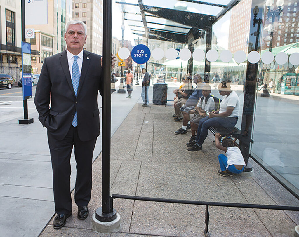 RIPTA CEO Scott Avedisian, at a stop at Kennedy Plaza in downtown Providence. He says feedback from riders on the state's plan to create multiple bus hubs in downtown Providence has been mixed. / PBN FILE PHOTO/ RUPERT WHITELEY
